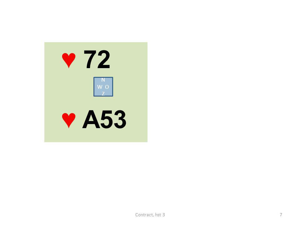 ♥ 72 ♥ A53 N W O Z 7Contract, hst 3