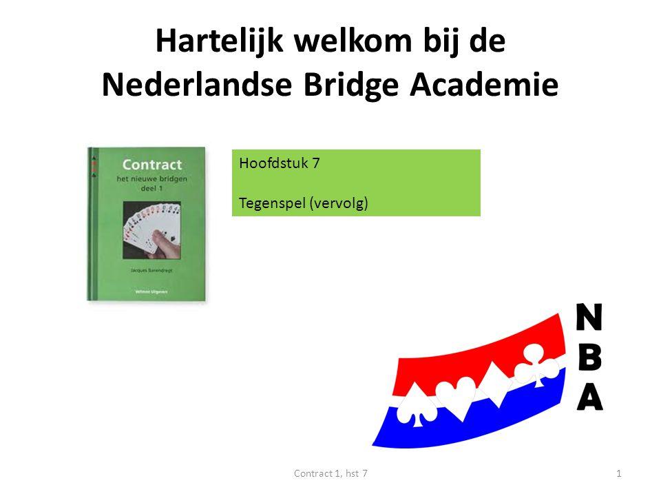 Hartelijk welkom bij de Nederlandse Bridge Academie Hoofdstuk 7 Tegenspel (vervolg) 1Contract 1, hst 7