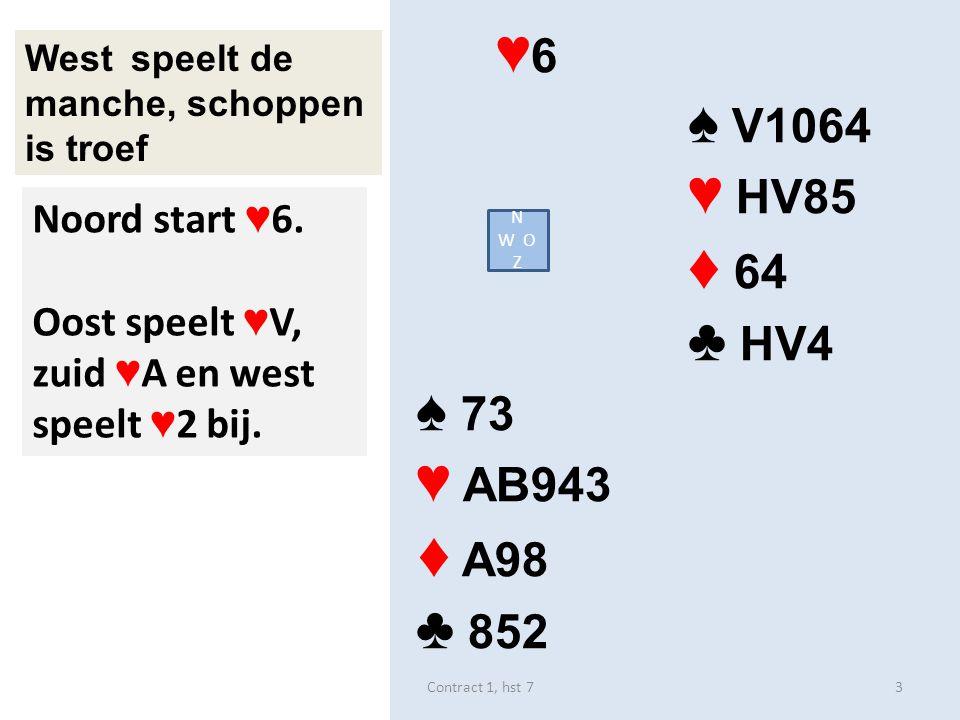 ♥ 6 ♠ V1064 ♥ HV85 ♦ 64 ♣ HV4 ♠ 73 ♥ AB943 ♦ A98 ♣ 852 West speelt de manche, schoppen is troef N W O Z Noord start ♥ 6. Oost speelt ♥ V, zuid ♥ A en