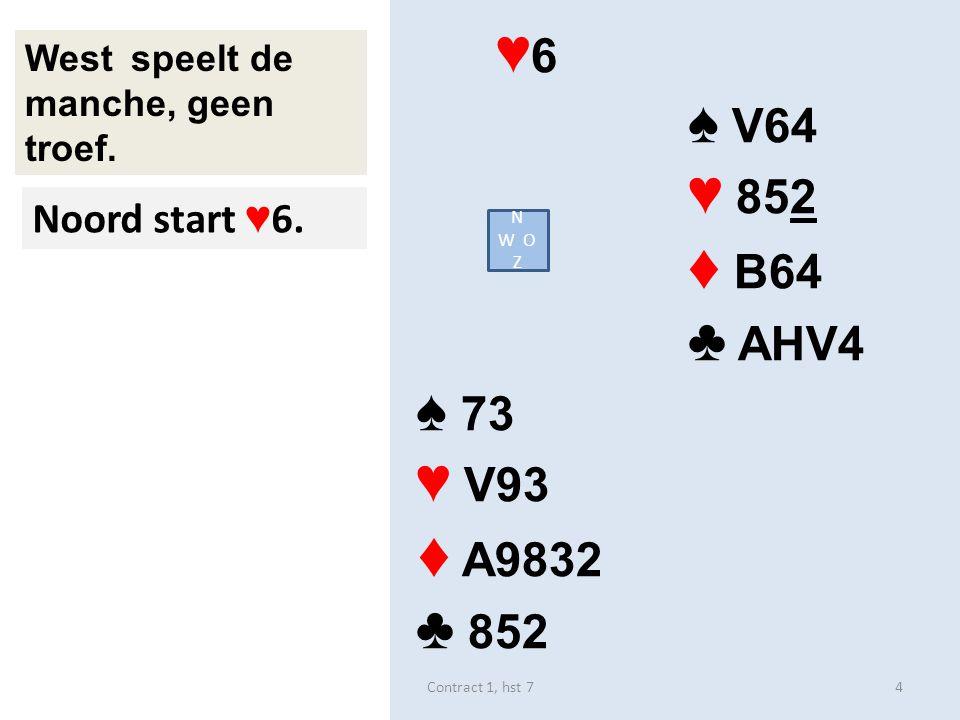 ♦ 6 ♠ 864 ♥ AH9 ♦ V54 ♣ H943 ♠ V73 ♥ VB73 ♦ AB2 ♣ 852 West speelt de manche, geen troef.