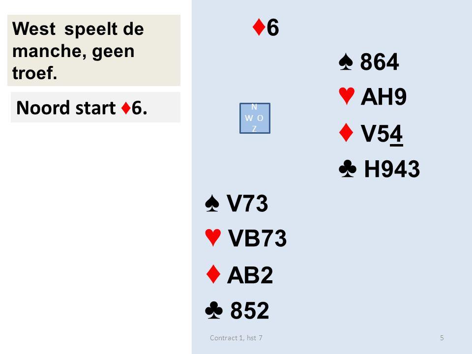 ♠ 32 ♥ AB963 ♦ H43 ♣ V104 Oost speelt de manche, geen troef. Je uitkomst? zuid 6Contract 1, hst 7