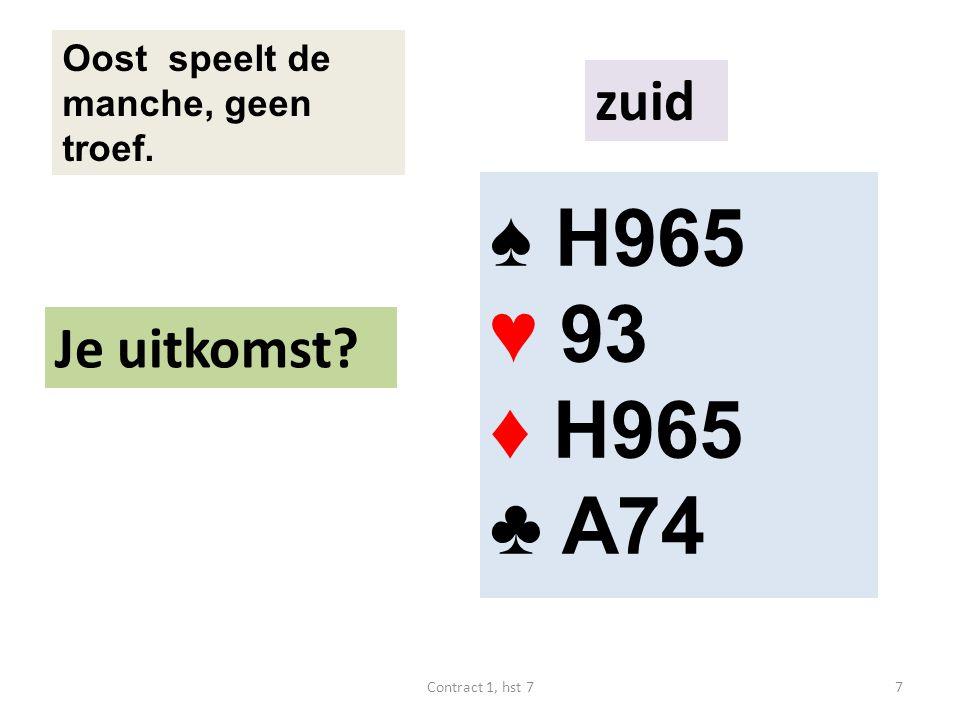 ♠ H965 ♥ 93 ♦ H965 ♣ A74 Oost speelt de manche, geen troef. Je uitkomst zuid 7Contract 1, hst 7