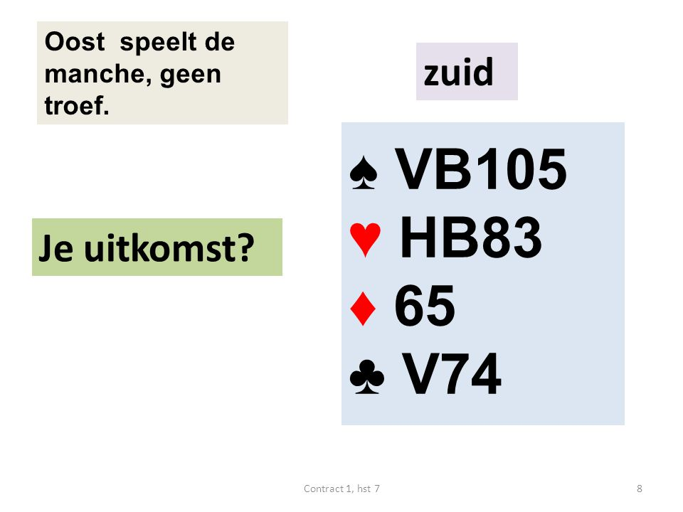 ♠ B95 ♥ 8 ♦ V10743 ♣ V754 Oost speelt de manche, schoppen is troef.
