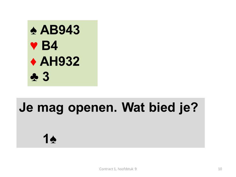 ♠ AB943 ♥ B4 ♦ AH932 ♣ 3 Je mag openen. Wat bied je 1♠ 10Contract 1, hoofdstuk 9