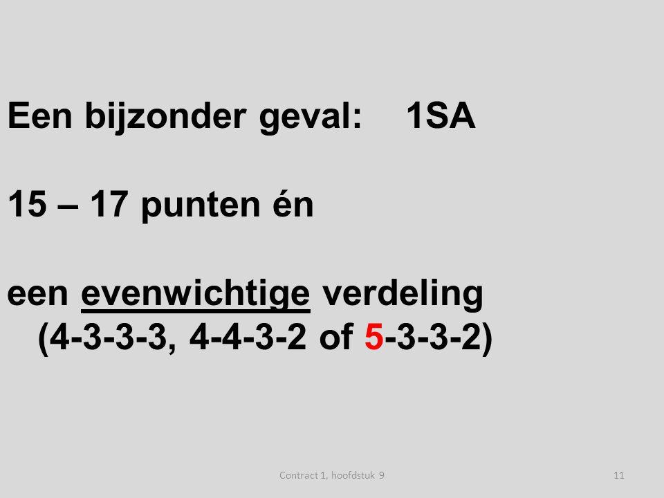 Een bijzonder geval:1SA 15 – 17 puntenén een evenwichtige verdeling (4-3-3-3, 4-4-3-2 of 5-3-3-2) 11Contract 1, hoofdstuk 9