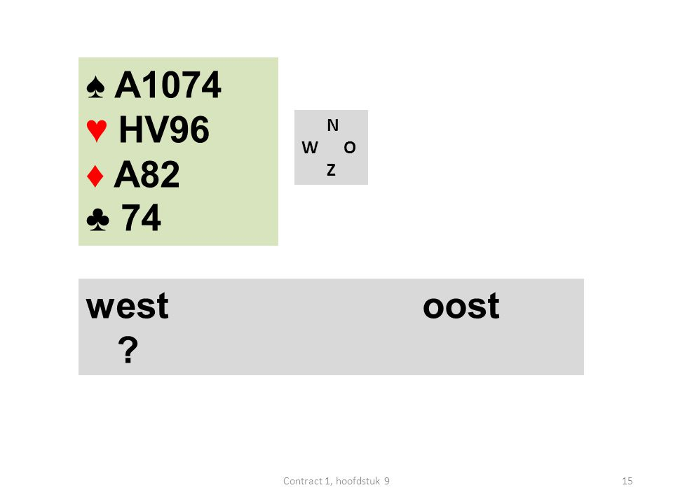 N W O Z west oost ? ♠ A1074 ♥ HV96 ♦ A82 ♣ 74 15Contract 1, hoofdstuk 9
