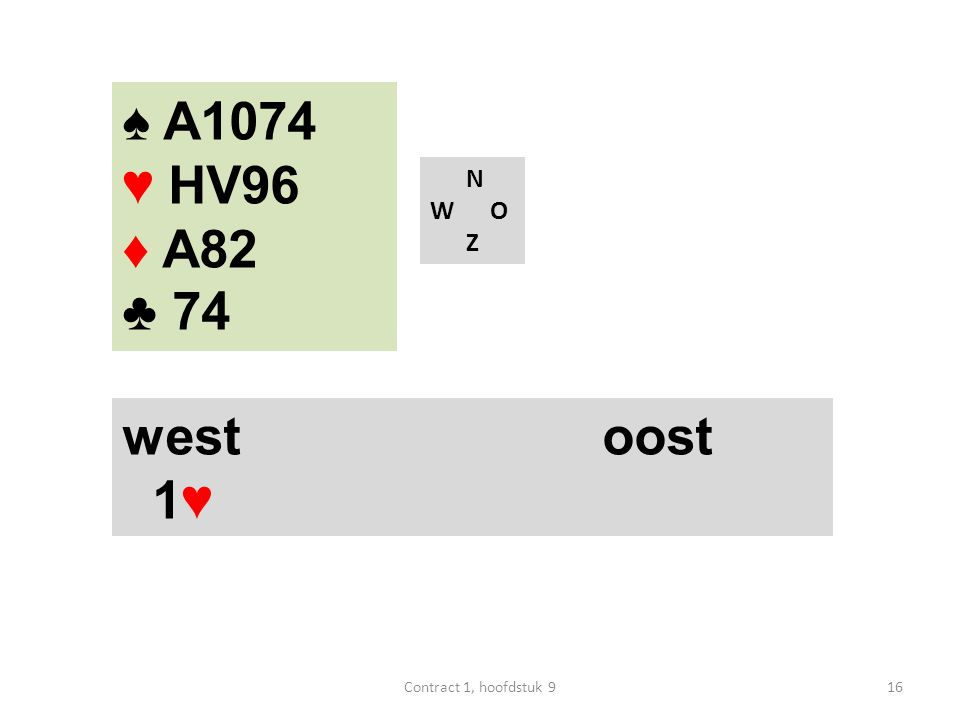 N W O Z west oost 1♥ ♠ A1074 ♥ HV96 ♦ A82 ♣ 74 16Contract 1, hoofdstuk 9