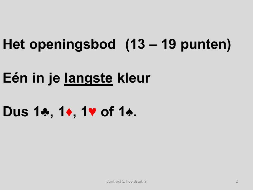 Het openingsbod (13 – 19 punten) Eén in je langste kleur Dus 1♣, 1♦, 1♥ of 1♠.