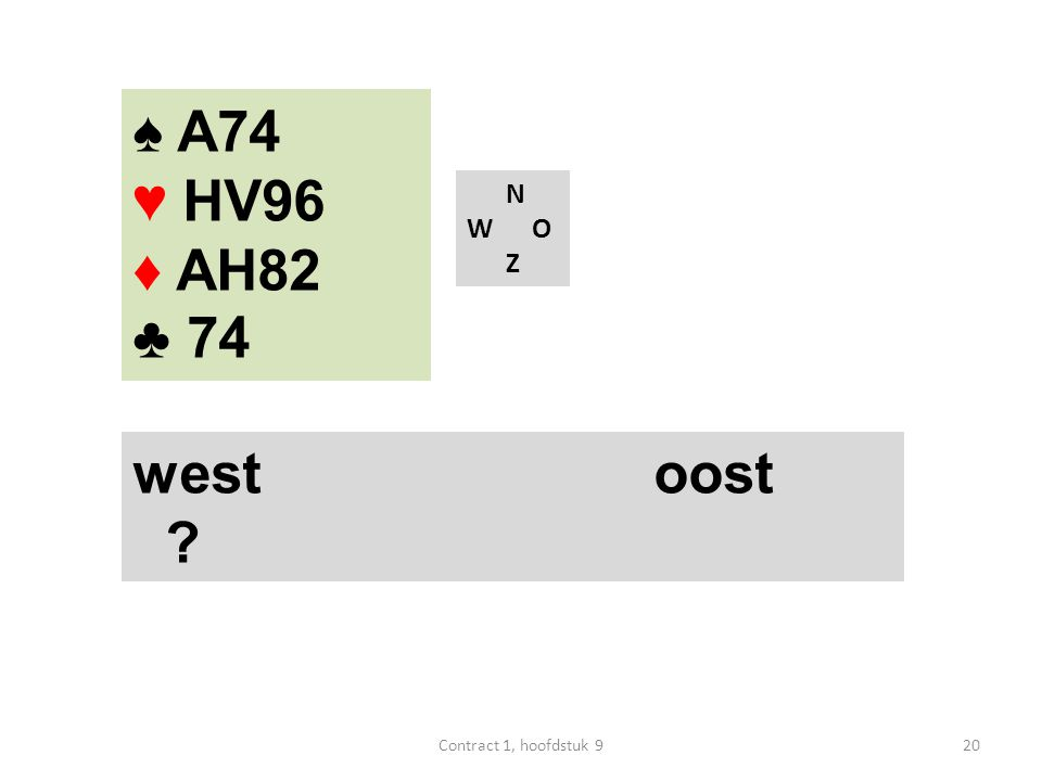 N W O Z west oost ♠ A74 ♥ HV96 ♦ AH82 ♣ 74 20Contract 1, hoofdstuk 9