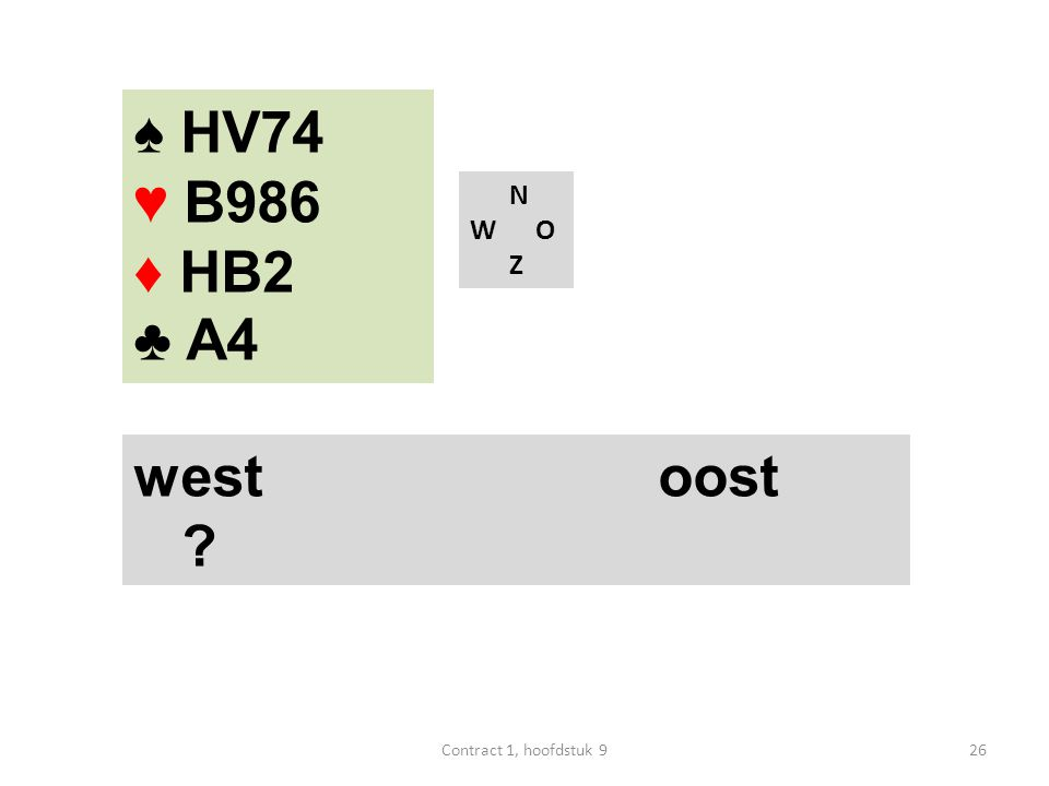 N W O Z west oost ? ♠ HV74 ♥ B986 ♦ HB2 ♣ A4 26Contract 1, hoofdstuk 9