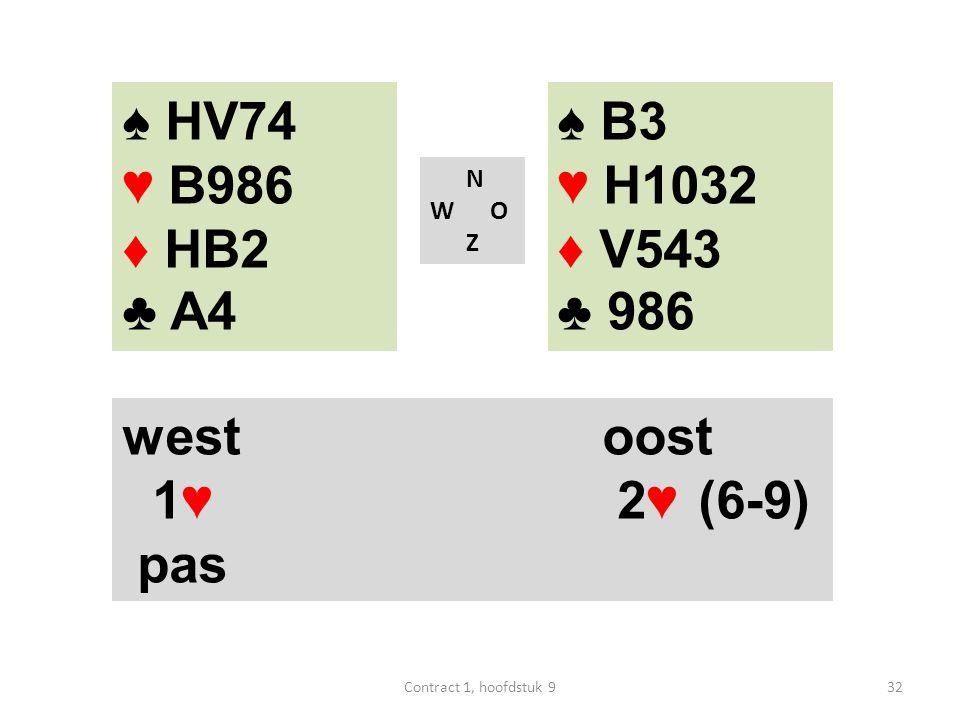 N W O Z west oost 1♥ 2♥ (6-9) pas ♠ B3 ♥ H1032 ♦ V543 ♣ 986 ♠ HV74 ♥ B986 ♦ HB2 ♣ A4 32Contract 1, hoofdstuk 9