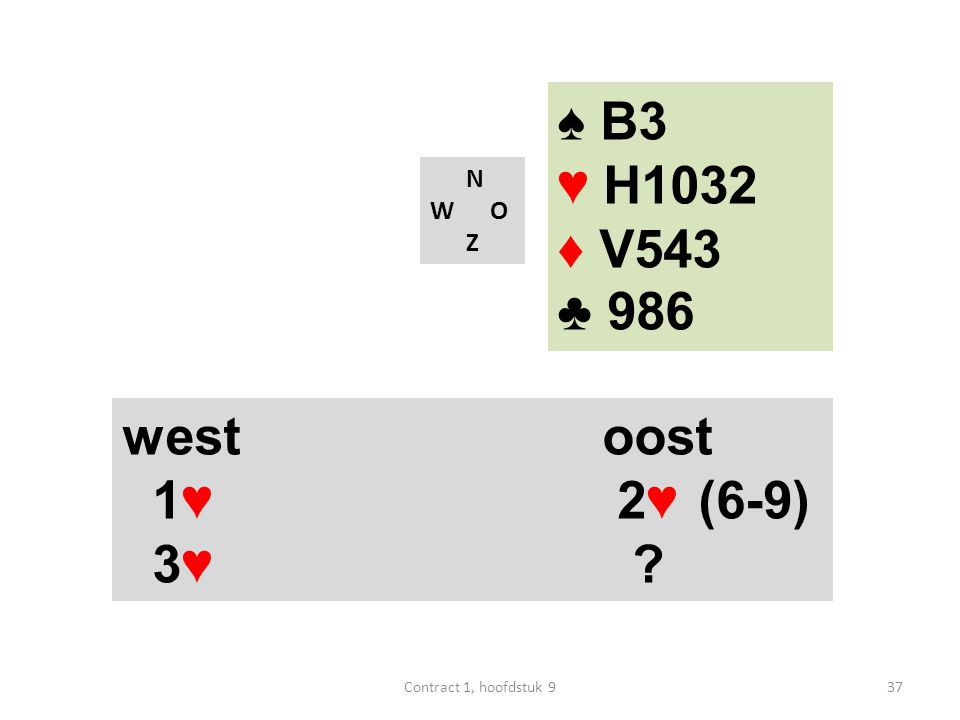 N W O Z west oost 1♥ 2♥ (6-9) 3♥ ? ♠ B3 ♥ H1032 ♦ V543 ♣ 986 37Contract 1, hoofdstuk 9