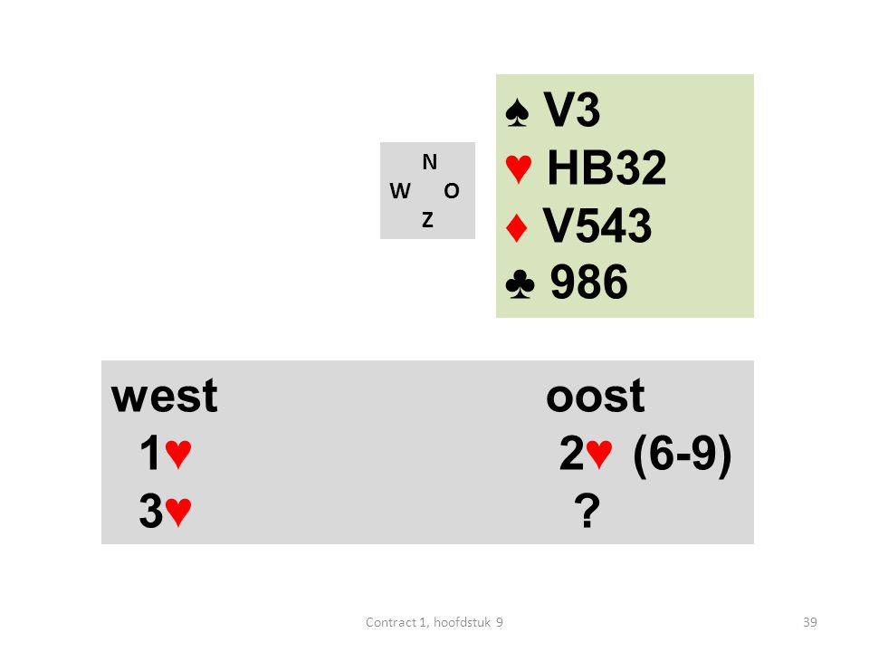 N W O Z west oost 1♥ 2♥ (6-9) 3♥ ♠ V3 ♥ HB32 ♦ V543 ♣ 986 39Contract 1, hoofdstuk 9