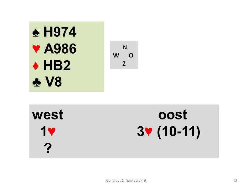 N W O Z west oost 1♥ 3♥ (10-11) ♠ H974 ♥ A986 ♦ HB2 ♣ V8 43Contract 1, hoofdstuk 9