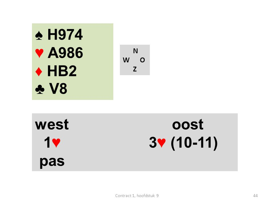 N W O Z west oost 1♥ 3♥ (10-11) pas ♠ H974 ♥ A986 ♦ HB2 ♣ V8 44Contract 1, hoofdstuk 9