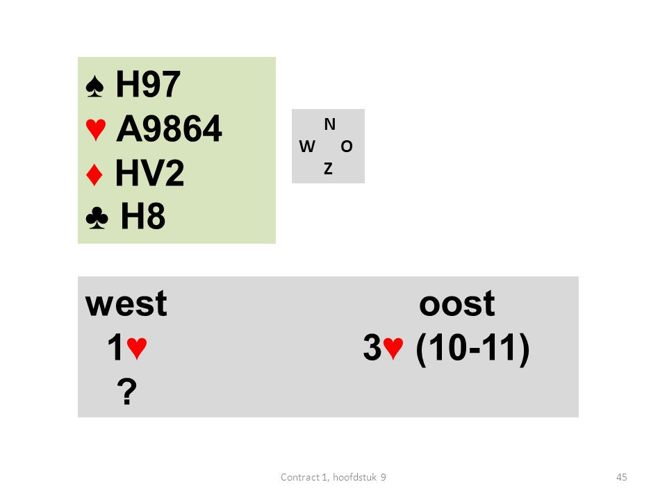 N W O Z west oost 1♥ 3♥ (10-11) ? ♠ H97 ♥ A9864 ♦ HV2 ♣ H8 45Contract 1, hoofdstuk 9
