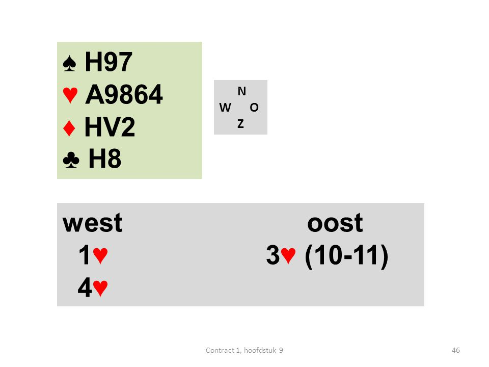 N W O Z west oost 1♥ 3♥ (10-11) 4♥ ♠ H97 ♥ A9864 ♦ HV2 ♣ H8 46Contract 1, hoofdstuk 9