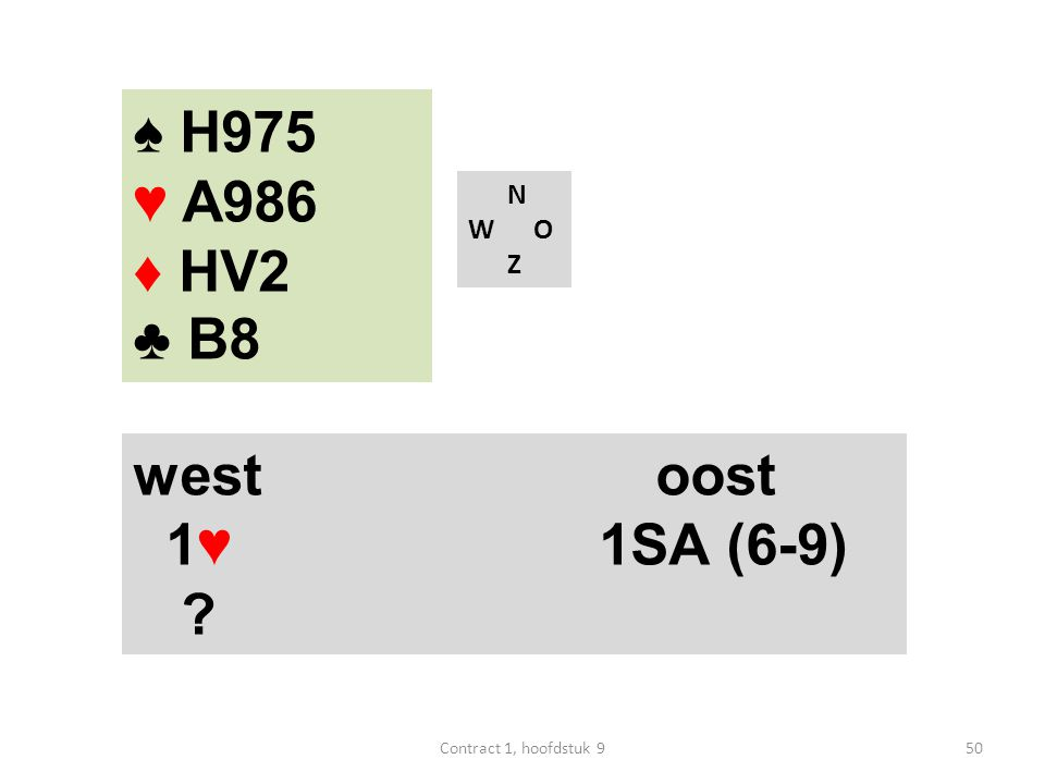 N W O Z west oost 1♥ 1SA (6-9) ♠ H975 ♥ A986 ♦ HV2 ♣ B8 50Contract 1, hoofdstuk 9