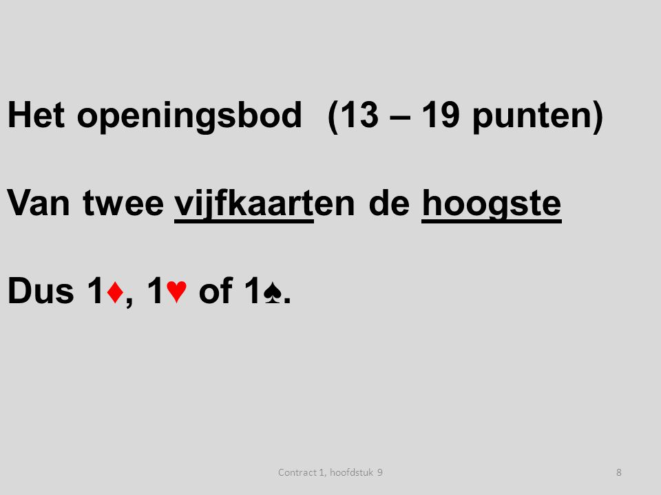 N W O Z west oost 1♥ 1SA (6-9) ♠ H83 ♥ 732 ♦ V543 ♣ B86 49Contract 1, hoofdstuk 9