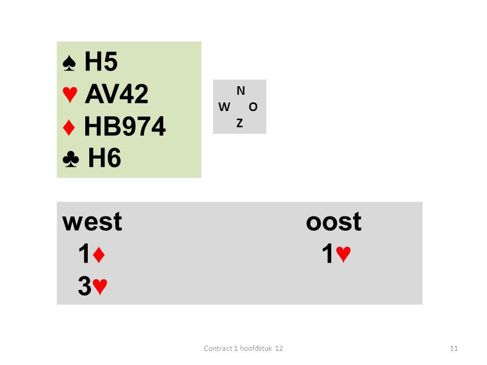 N W O Z west oost 1♦ 1♥ 3♥ 11Contract 1 hoofdstuk 12 ♠ H5 ♥ AV42 ♦ HB974 ♣ H6