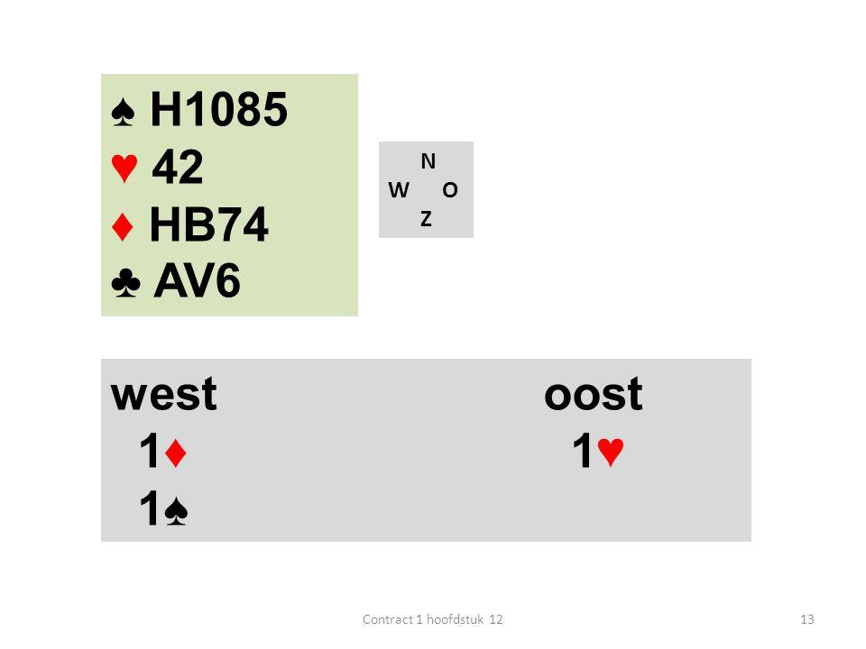 N W O Z west oost 1♦ 1♥ 1♠ 13Contract 1 hoofdstuk 12 ♠ H1085 ♥ 42 ♦ HB74 ♣ AV6