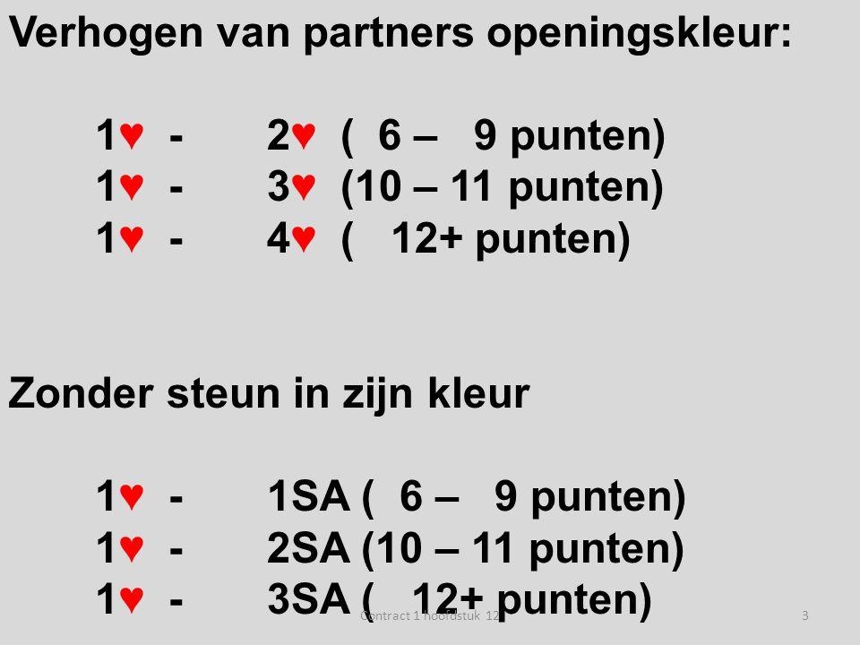 Verhogen van partners openingskleur: 1♥ -2♥ ( 6 – 9 punten) 1♥ -3♥ (10 – 11 punten) 1♥ -4♥ ( 12+ punten) Zonder steun in zijn kleur 1♥ -1SA ( 6 – 9 pu