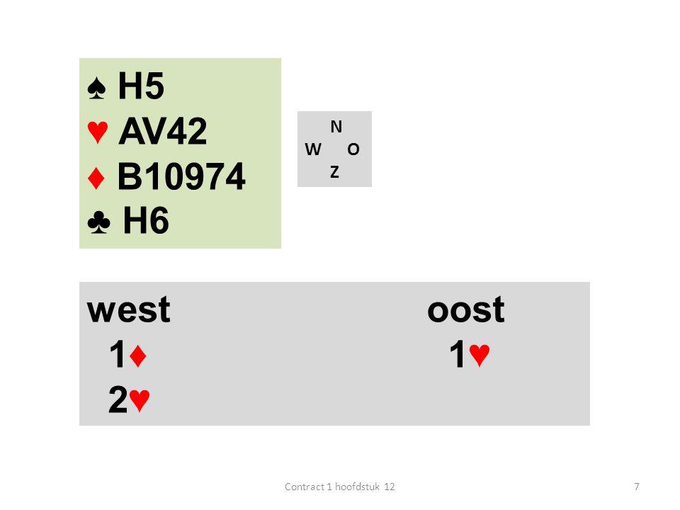 N W O Z west oost 1♦ 1♥ 2♥ 7Contract 1 hoofdstuk 12 ♠ H5 ♥ AV42 ♦ B10974 ♣ H6