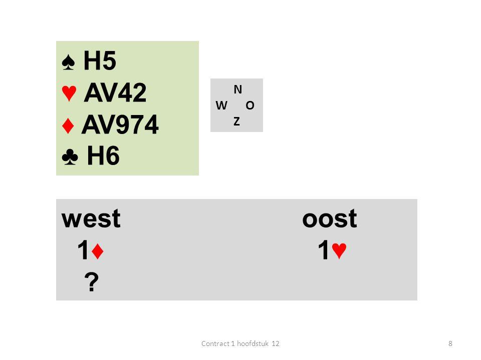 N W O Z west oost 1♦ 1♥ ? 8Contract 1 hoofdstuk 12 ♠ H5 ♥ AV42 ♦ AV974 ♣ H6