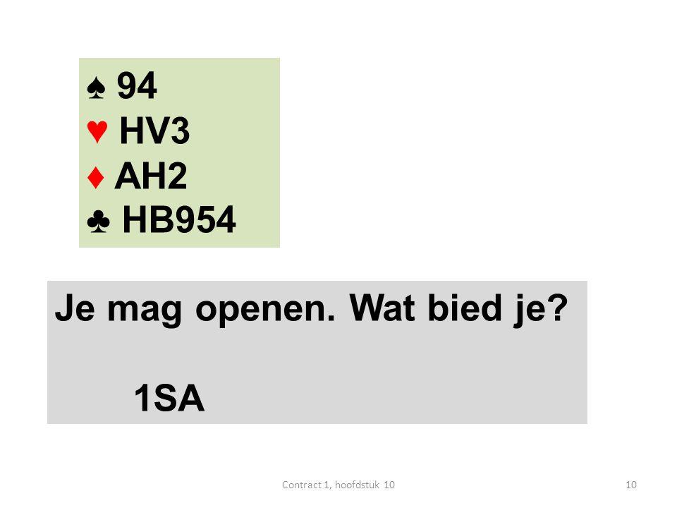 ♠ 94 ♥ HV3 ♦ AH2 ♣ HB954 Je mag openen. Wat bied je? 1SA 10Contract 1, hoofdstuk 10