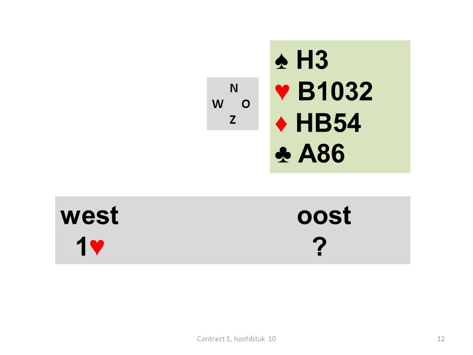 N W O Z west oost 1♥ 4♥ ♠ H3 ♥ B1032 ♦ HB54 ♣ A86 13Contract 1, hoofdstuk 10