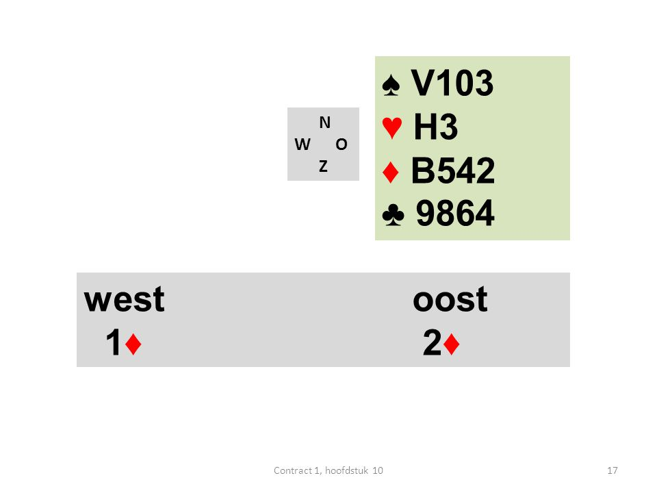 N W O Z west oost 1♦ 2♦ ♠ V103 ♥ H3 ♦ B542 ♣ 9864 17Contract 1, hoofdstuk 10