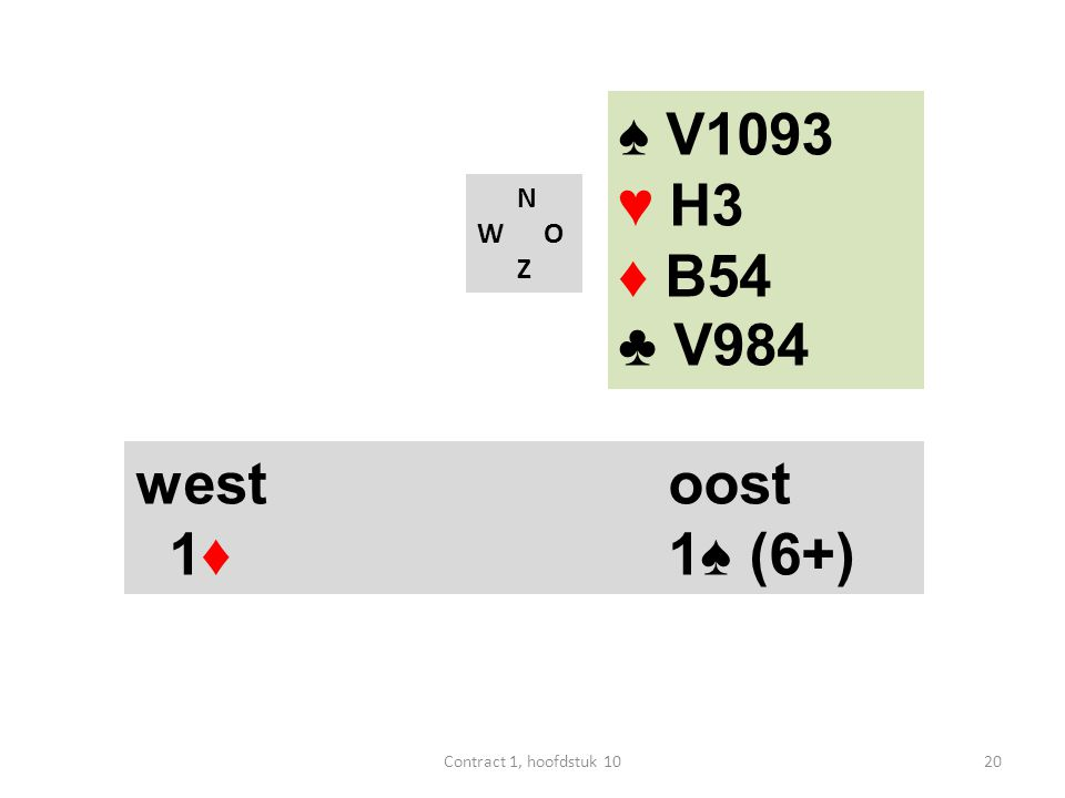 N W O Z west oost 1♦ ? ♠ V1093 ♥ H3 ♦ HB854 ♣ 84 21Contract 1, hoofdstuk 10