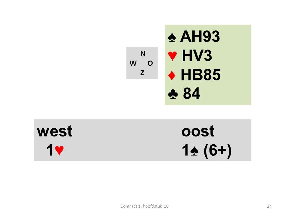 N W O Z west oost 1♥ 1♠ (6+) ♠ AH93 ♥ HV3 ♦ HB85 ♣ 84 24Contract 1, hoofdstuk 10