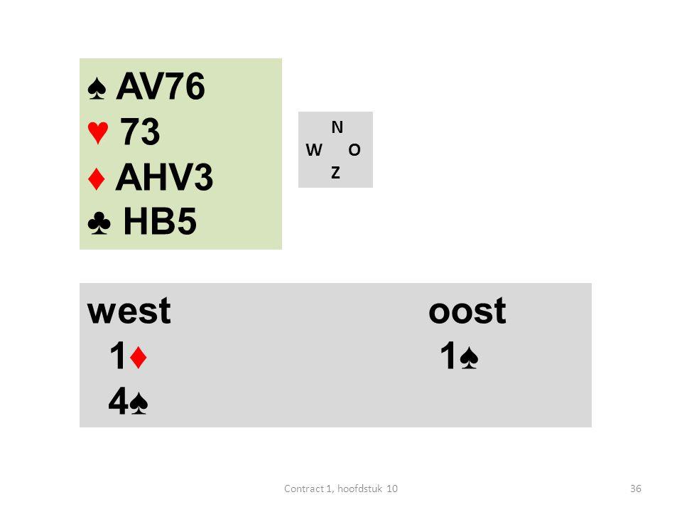 N W O Z west oost 1♦ 1♠ 4♠ 36Contract 1, hoofdstuk 10 ♠ AV76 ♥ 73 ♦ AHV3 ♣ HB5