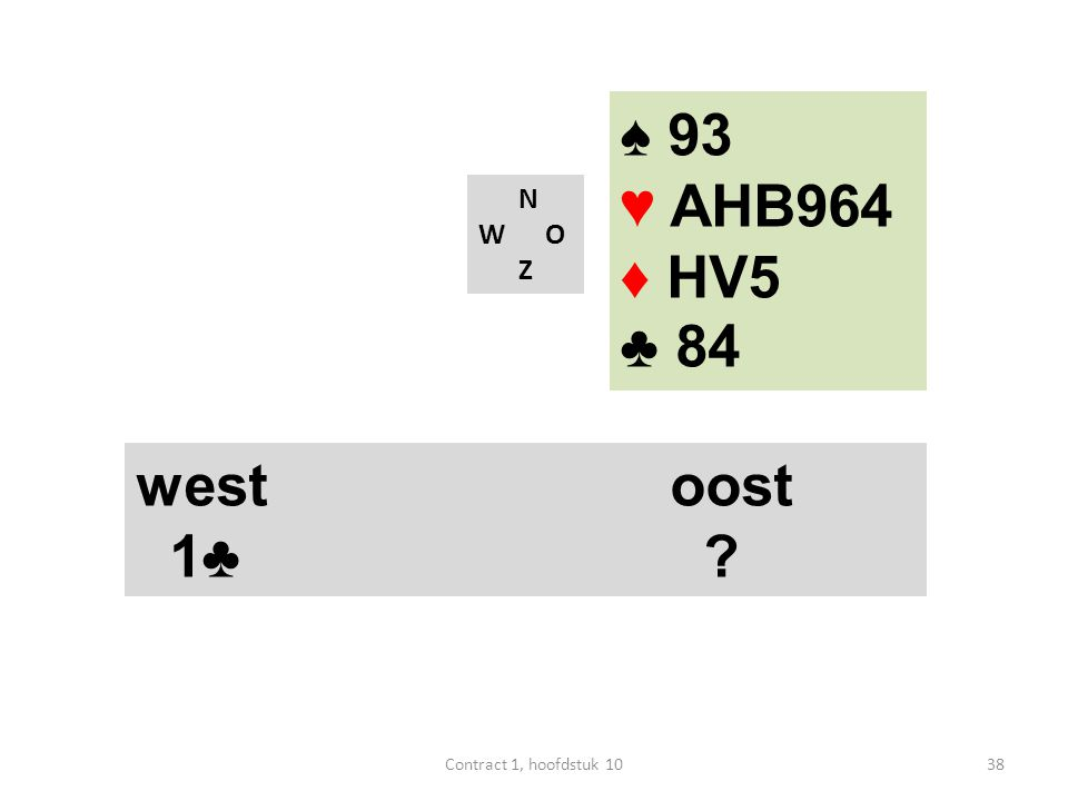 N W O Z west oost 1♣ ♠ 93 ♥ AHB964 ♦ HV5 ♣ 84 38Contract 1, hoofdstuk 10