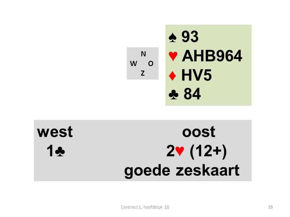 N W O Z west oost 1♣ 2♥ (12+) goede zeskaart ♠ 93 ♥ AHB964 ♦ HV5 ♣ 84 39Contract 1, hoofdstuk 10