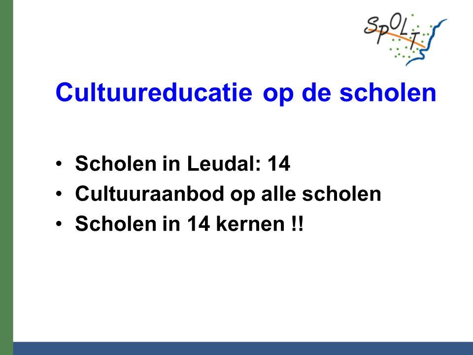 Cultuureducatie op de scholen Scholen in Leudal: 14 Cultuuraanbod op alle scholen Scholen in 14 kernen !!