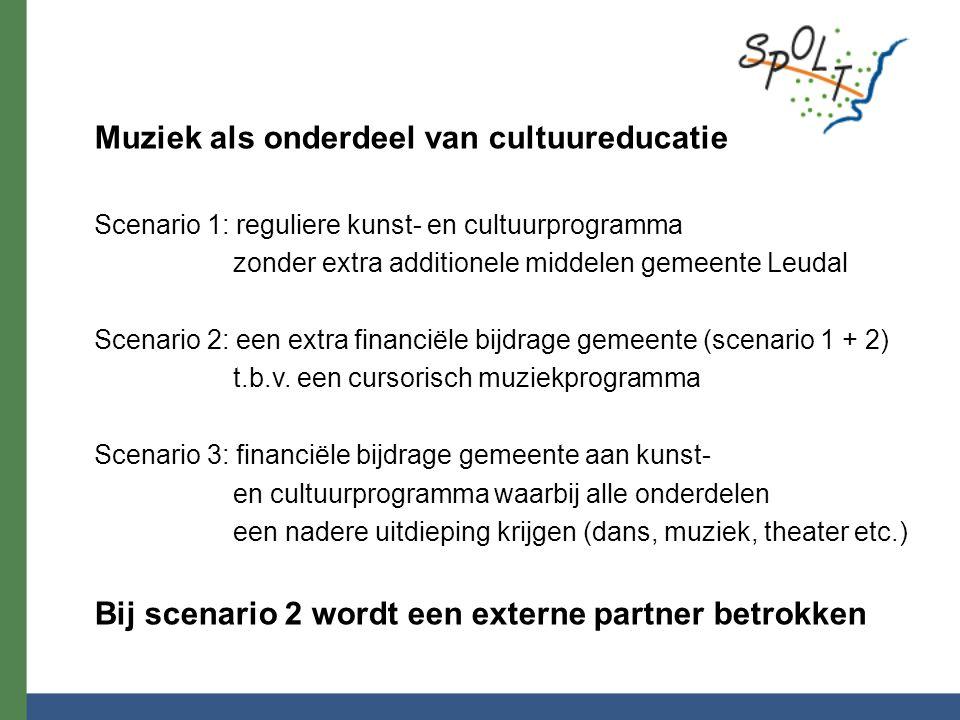 Muziek als onderdeel van cultuureducatie Scenario 1: reguliere kunst- en cultuurprogramma zonder extra additionele middelen gemeente Leudal Scenario 2: een extra financiële bijdrage gemeente (scenario 1 + 2) t.b.v.