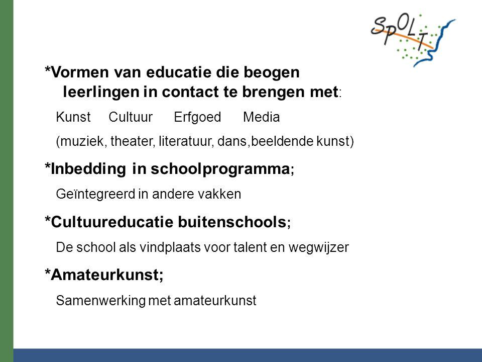 *Vormen van educatie die beogen leerlingen in contact te brengen met : Kunst Cultuur Erfgoed Media (muziek, theater, literatuur, dans,beeldende kunst)