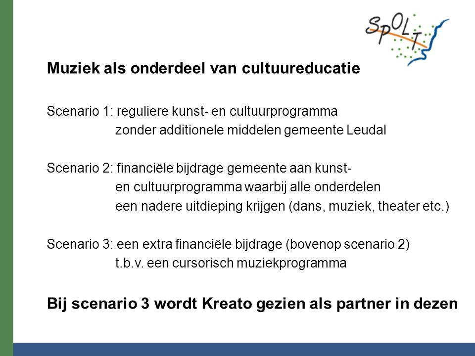 Muziek als onderdeel van cultuureducatie Scenario 1: reguliere kunst- en cultuurprogramma zonder additionele middelen gemeente Leudal Scenario 2: fina