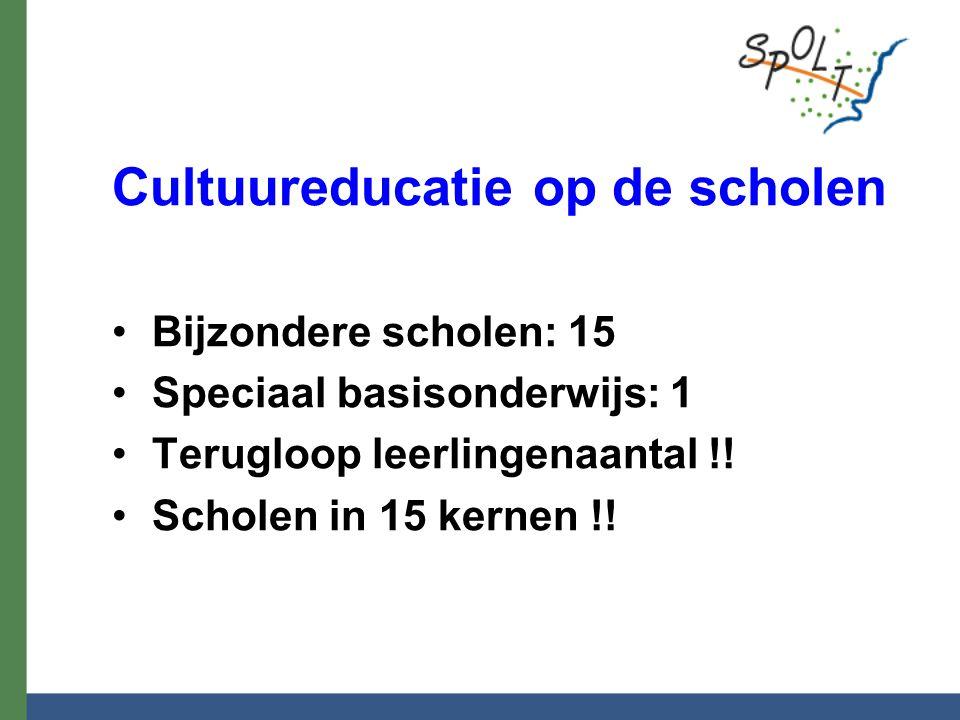 Cultuureducatie op de scholen Bijzondere scholen: 15 Speciaal basisonderwijs: 1 Terugloop leerlingenaantal !! Scholen in 15 kernen !!
