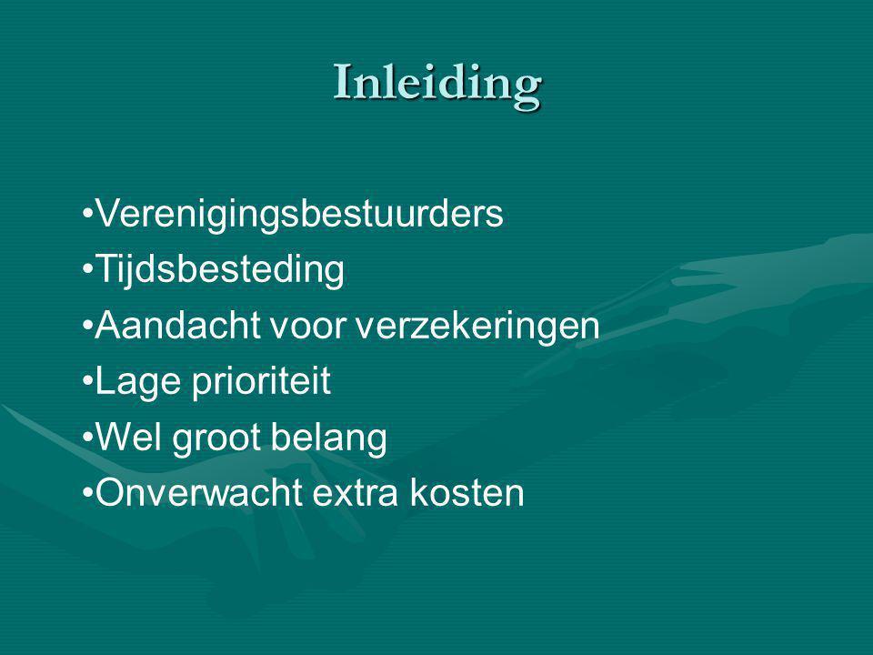 Inleiding Verenigingsbestuurders Tijdsbesteding Aandacht voor verzekeringen Lage prioriteit Wel groot belang Onverwacht extra kosten