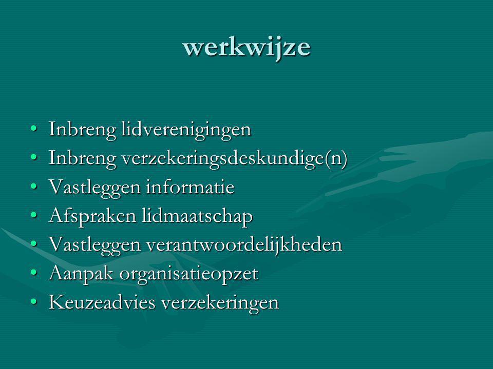 werkwijze Inbreng lidverenigingenInbreng lidverenigingen Inbreng verzekeringsdeskundige(n)Inbreng verzekeringsdeskundige(n) Vastleggen informatieVastl