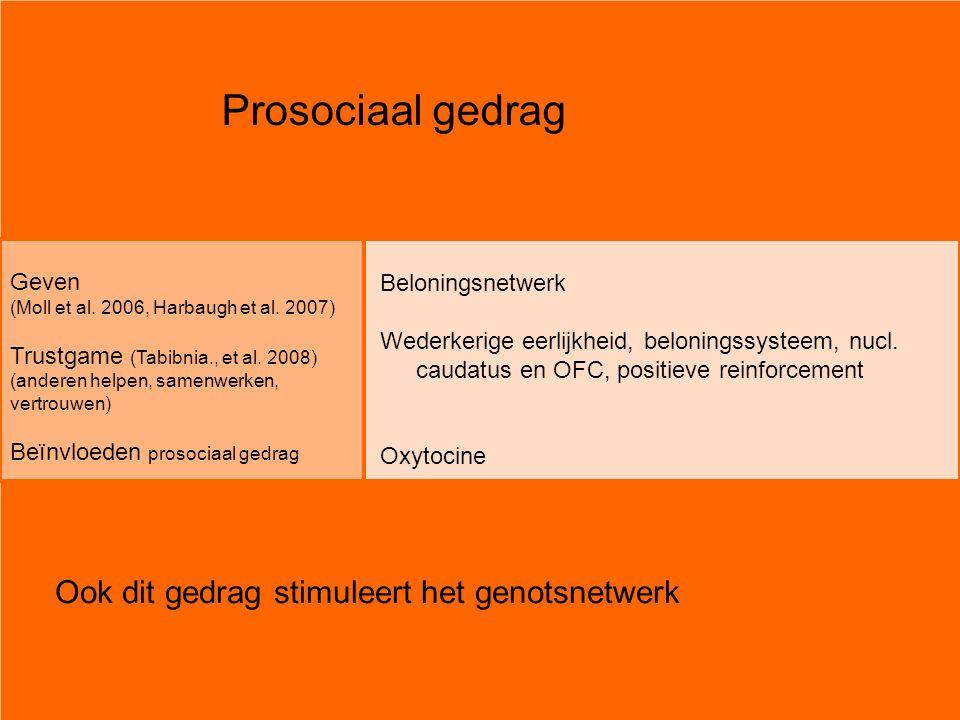 Prosociaal gedrag Geven (Moll et al. 2006, Harbaugh et al. 2007) Trustgame (Tabibnia., et al. 2008) (anderen helpen, samenwerken, vertrouwen) Beïnvloe