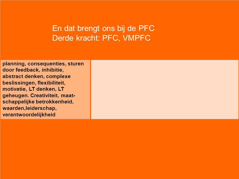 En dat brengt ons bij de PFC Derde kracht: PFC, VMPFC planning, consequenties, sturen door feedback, inhibitie, abstract denken, complexe beslissingen