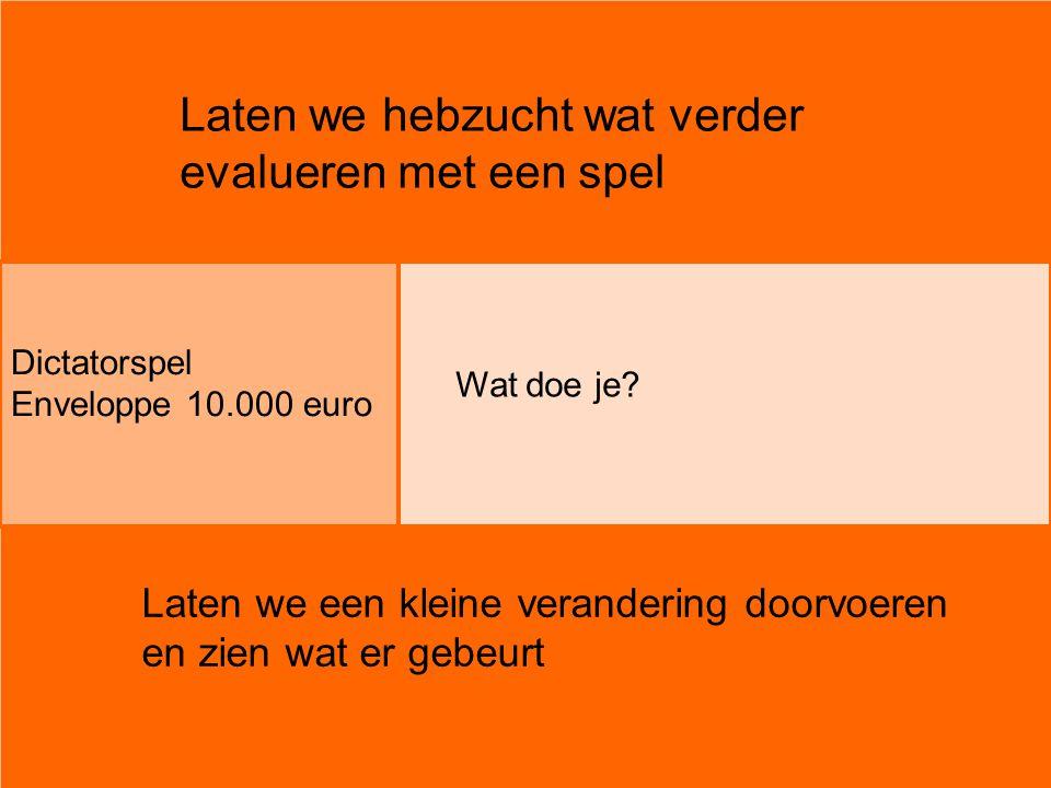 Laten we hebzucht wat verder evalueren met een spel Dictatorspel Enveloppe 10.000 euro Wat doe je? Laten we een kleine verandering doorvoeren en zien