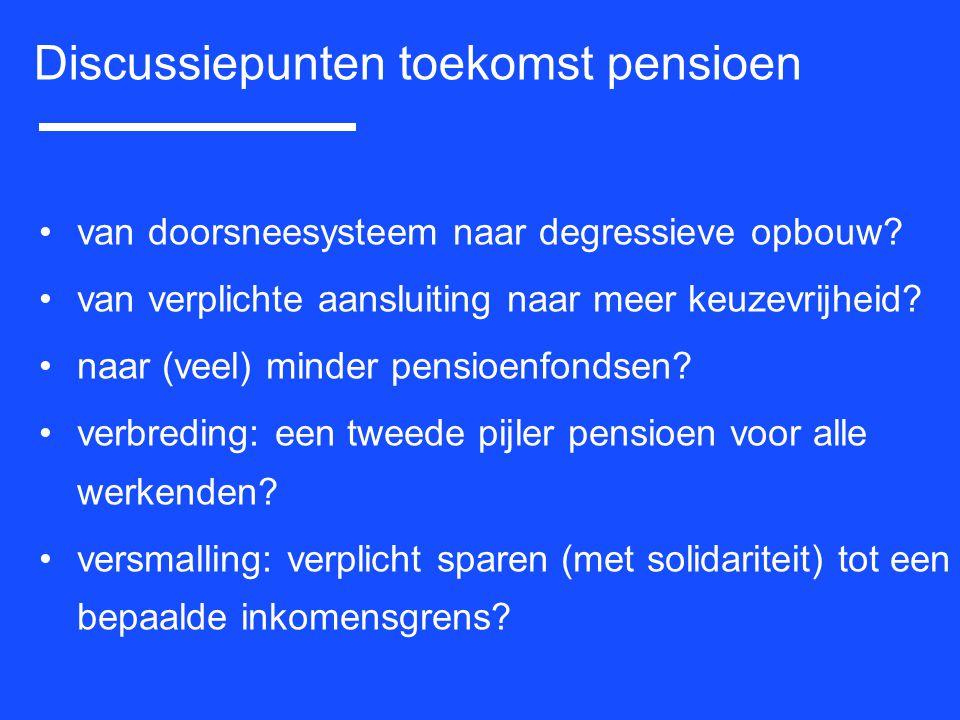 van doorsneesysteem naar degressieve opbouw? van verplichte aansluiting naar meer keuzevrijheid? naar (veel) minder pensioenfondsen? verbreding: een t