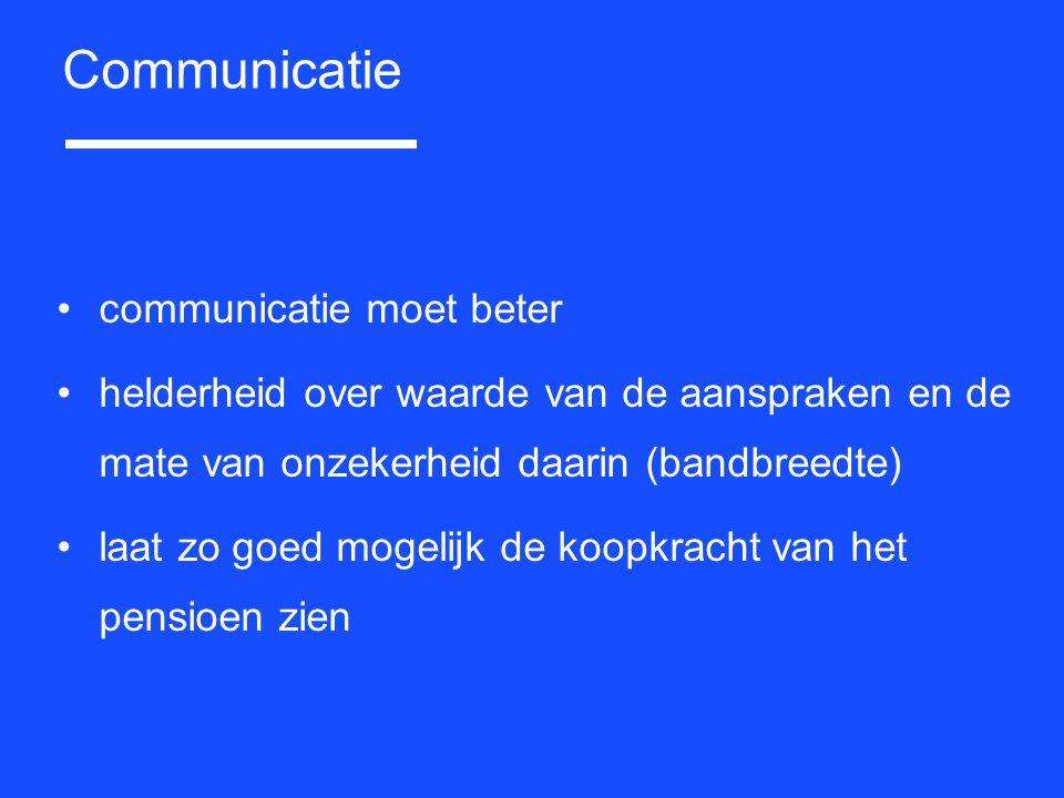 communicatie moet beter helderheid over waarde van de aanspraken en de mate van onzekerheid daarin (bandbreedte) laat zo goed mogelijk de koopkracht v