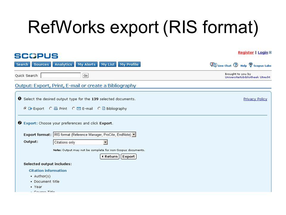 RefWorks export (RIS format)