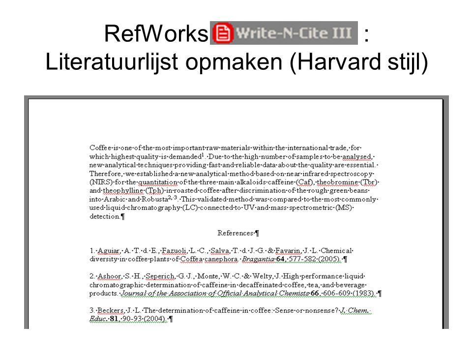 RefWorks Write-N-Cite : Literatuurlijst opmaken (Harvard stijl)